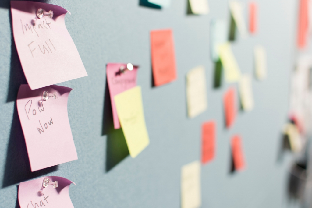 Wall of post-it notes. The Art of Failure Jill Griffin Coaching