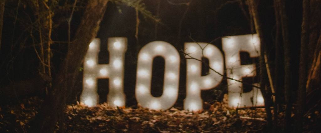 Large Hope sign with lights - Action over hope - Jill Griffin Coaching